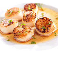 Coquille St-Jacques flambées ou sauce saté